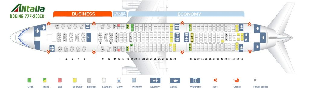 Seat Map and Seating Chart Boeing 777 200ER Alitalia