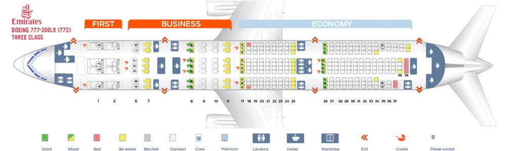 Seat Map and Seating Chart Boeing 777 200LR Emirates