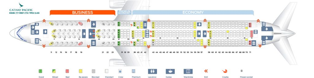 Seat Map and Seating Chart Boeing 777 300ER Cathay Pacific 77G Three class