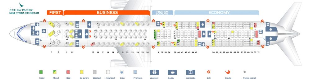 Seat Map and Seating Chart Boeing 777 300ER Cathay Pacific 77H Four Class