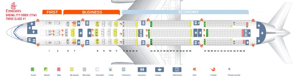 Seat Map and Seating Chart Boeing 777 300ER Emirates Three Class V1
