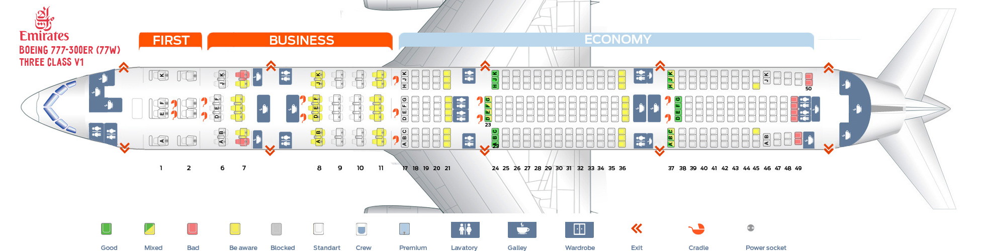 Seat Map And Seating Chart Boeing 777 300er Emirates Three Cl V1