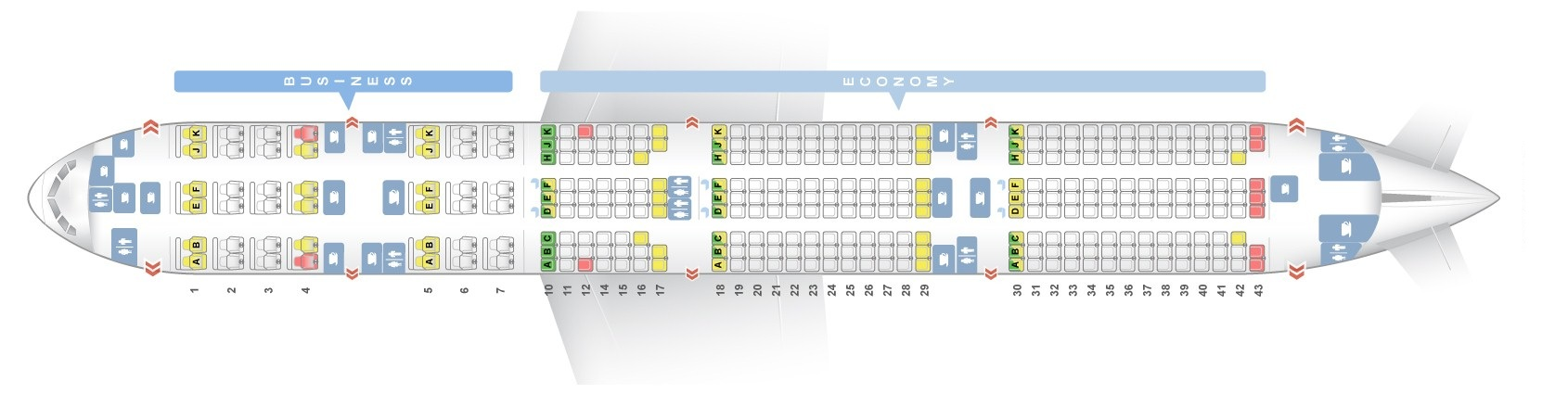 Seat Map And Seating Chart Boeing 777 300er Qatar Airways V3