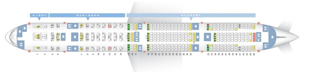Seat Map and Seating Chart Boeing 777 300ER Three Class Etihad Airways