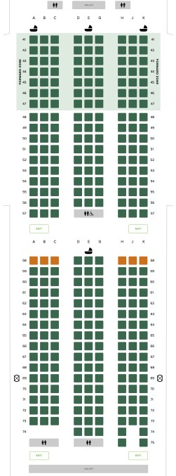 Seat Map and Seating Chart Boeing 787 10 Dreamliner Singapore Airlines Economy Class