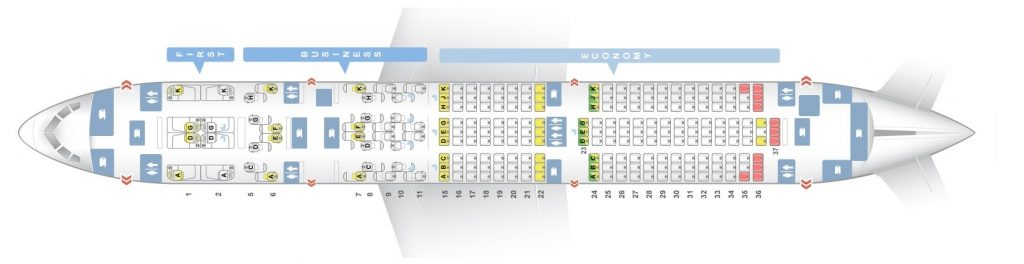 Seat Map and Seating Chart Boeing 787 9 Dreamliner Three Class Etihad Airways