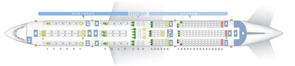 Seat Map and Seating Chart Singapore Airlines Airbus A350 900 Three Class Long Haul Flight