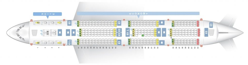 Seat Map and Seating Chart Singapore Airlines Airbus A380 800 Lower Deck Four Class V3