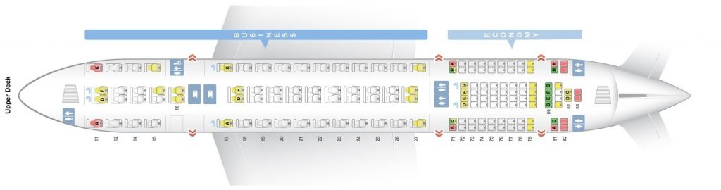 Seat Map and Seating Chart Singapore Airlines Airbus A380 800 Upper Deck Four Class V1
