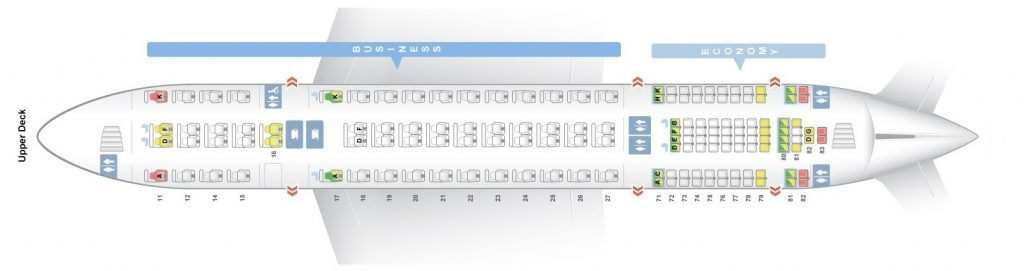 Seat Map and Seating Chart Singapore Airlines Airbus A380 800 Upper Deck Four Class V3