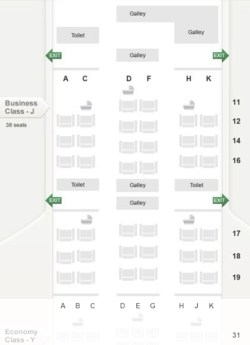 Seat Map and Seating Chart Singapore Airlines Boeing 777 200 Version 2 Business Class