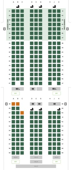 Seat Map and Seating Chart Singapore Airlines Boeing 777 200ER Retrofitted Layout Economy Class