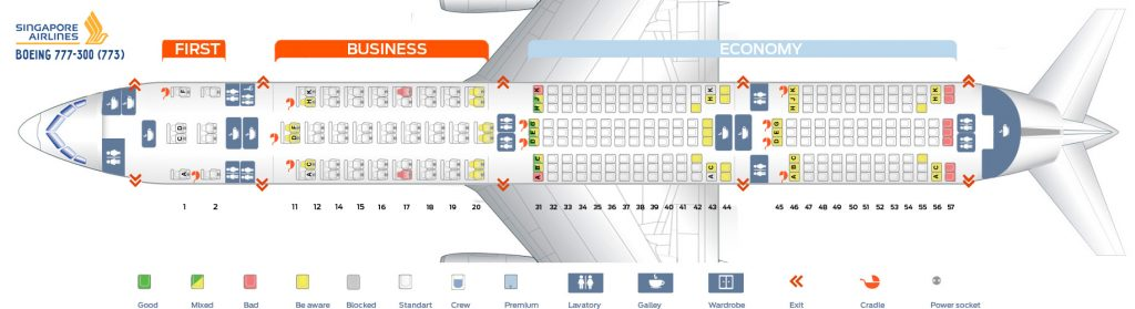 Seat Map and Seating Chart Singapore Airlines Boeing 777 300