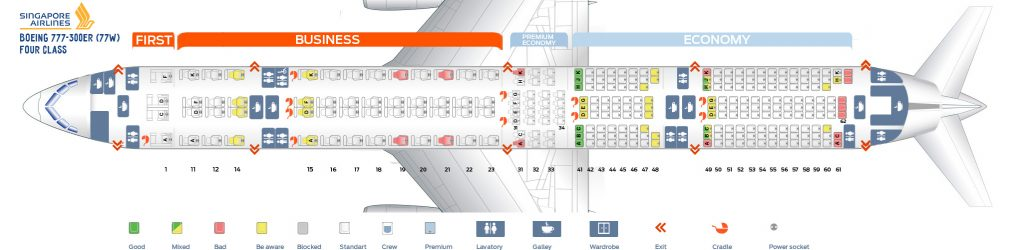 Seat Map and Seating Chart Singapore Airlines Boeing 777 300ER Four Class Layout