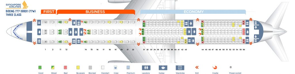 Seat Map and Seating Chart Singapore Airlines Boeing 777 300ER Three Class Layout