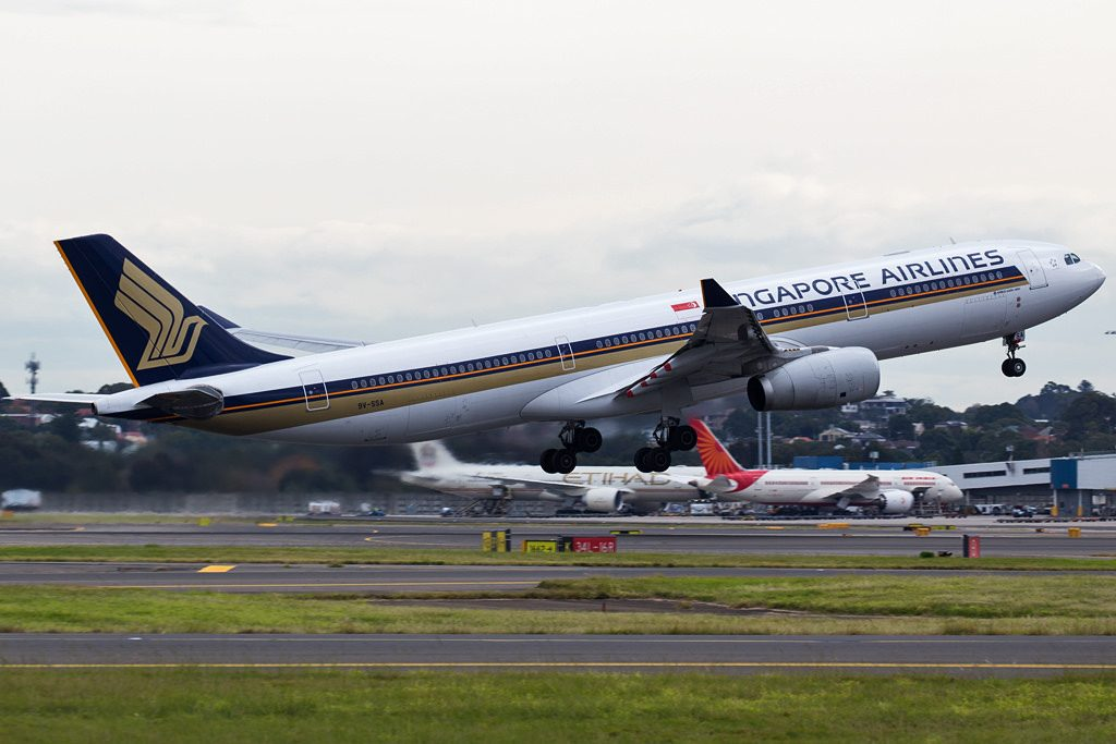 Singapore Airlines 9V SSA Airbus A330 300 takeoff from Sydney Airport