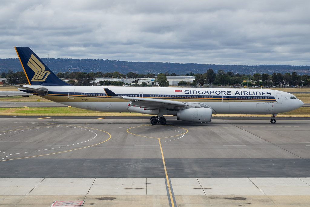 Singapore Airlines Airbus A330 300 Reg 9V SSI at Adelaide Airport South Australia