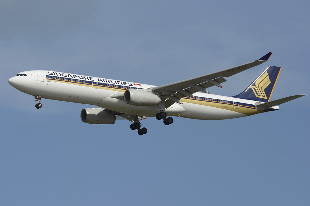 Singapore Airlines Airbus A330 343 9V SSE on final at Changi International Airport