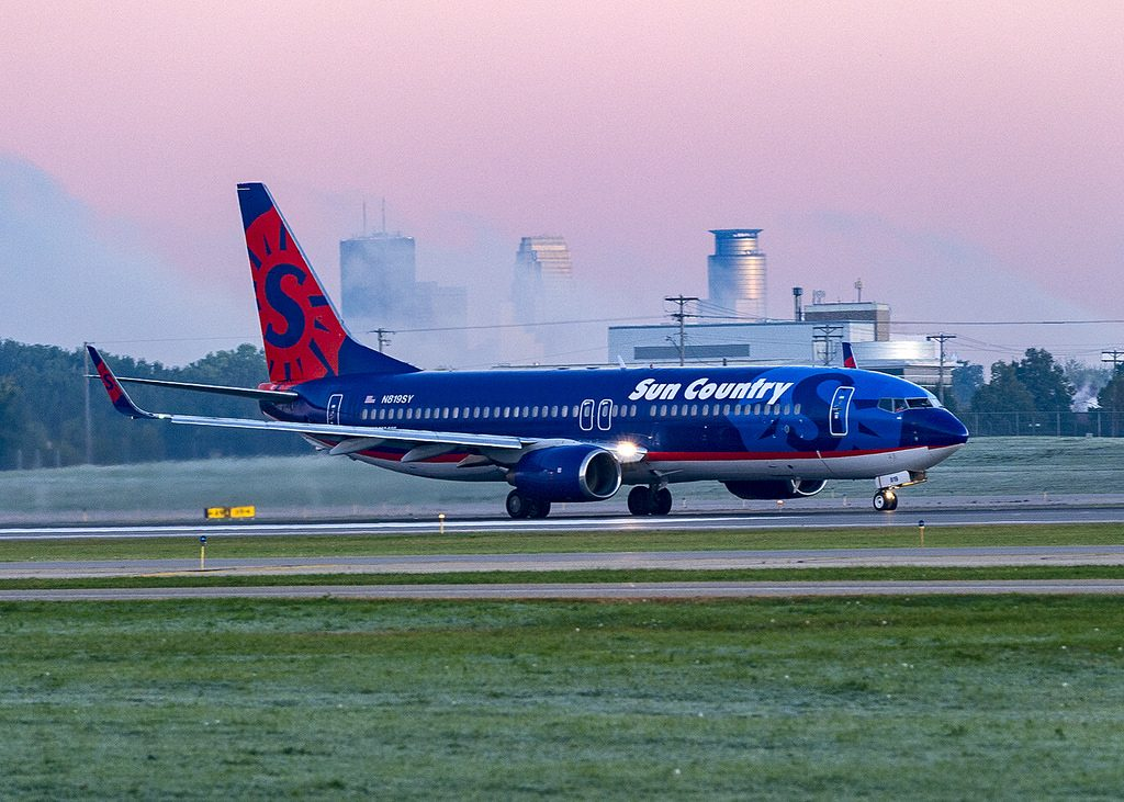 Sun Country Airlines Boeing 737 86NWL N819SY Starts its takeoff roll on Runway 12R at Minneapolis St Paul Wold Chamberlin Field