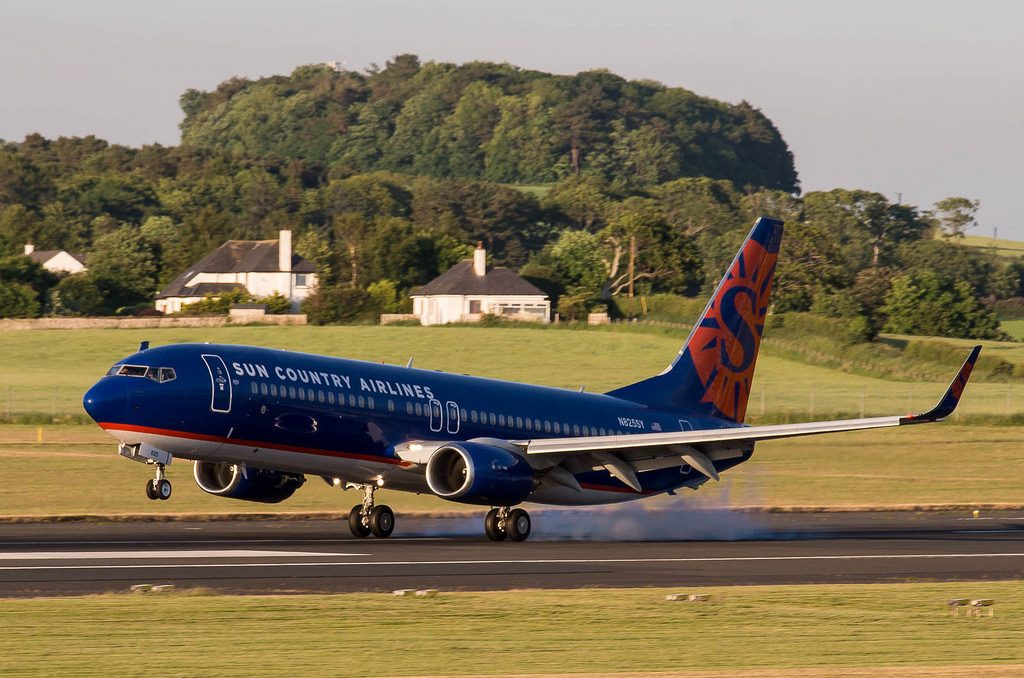 Sun Country Airlines Boeing 737 8F2W N825SY cn 34410 touches down at Glasgow Prestwick International Airport PIK EGPK