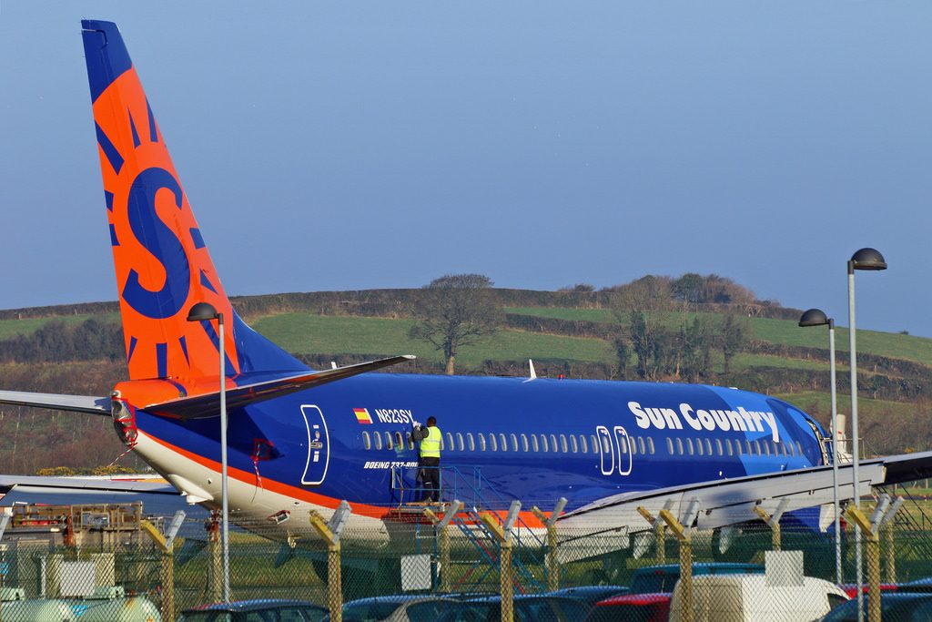 Sun Country Airlines N823SY Boeing 737 800 parked at Shannon Airport