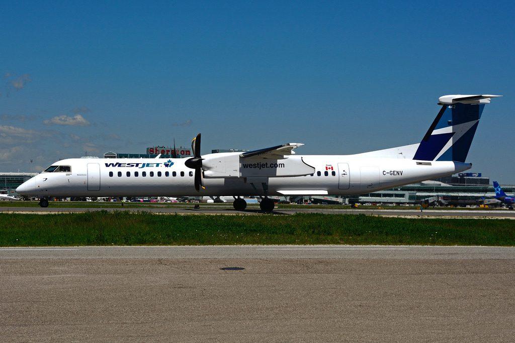 Turboprop Aircraft Bombardier Dash 8 Q400 Westjet Encore C GENV