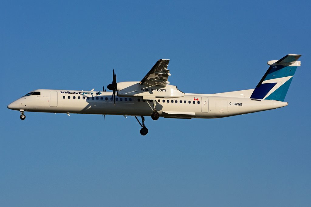 WestJet Encore Aircraft Fleet C GPWE Bombardier Dash 8 Q400 landing at Toronto Pearson Airport