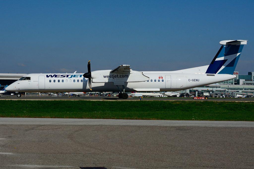 WestJet Encore Bombardier Dash 8 Q400 C GENU taxiing at Toronto Pearson Airport