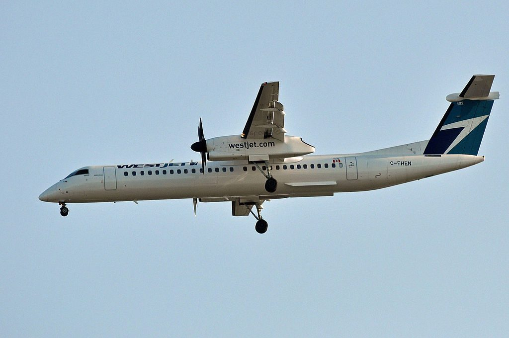 WestJet Encore C FHEN Bombardier Dash 8 Q400 on final approach at Vancouver International Airport