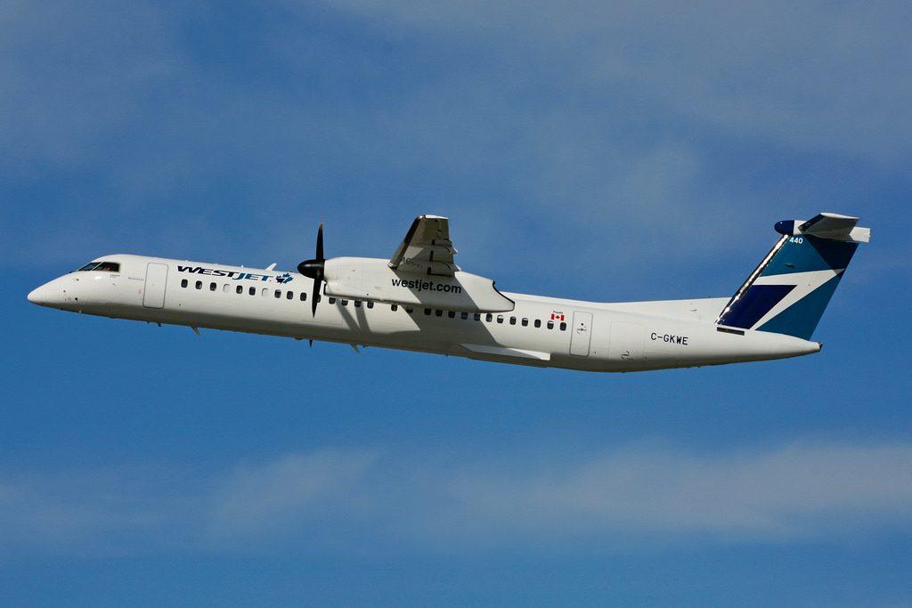 WestJet Encore C GKWE Bombardier Dash 8 Q400 Departing Toronto Pearson Airport
