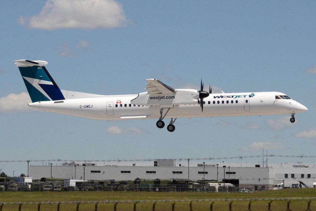 WestJet Encore C GWEJ Bombardier DHC 8 402 Q400 at CYZD