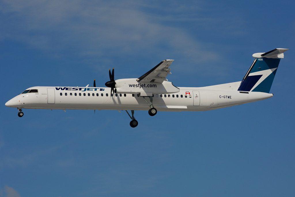 WestJet Encore Turboprop aircraft C GTWE Bombardier De Havilland Canada Dash 8 Q400