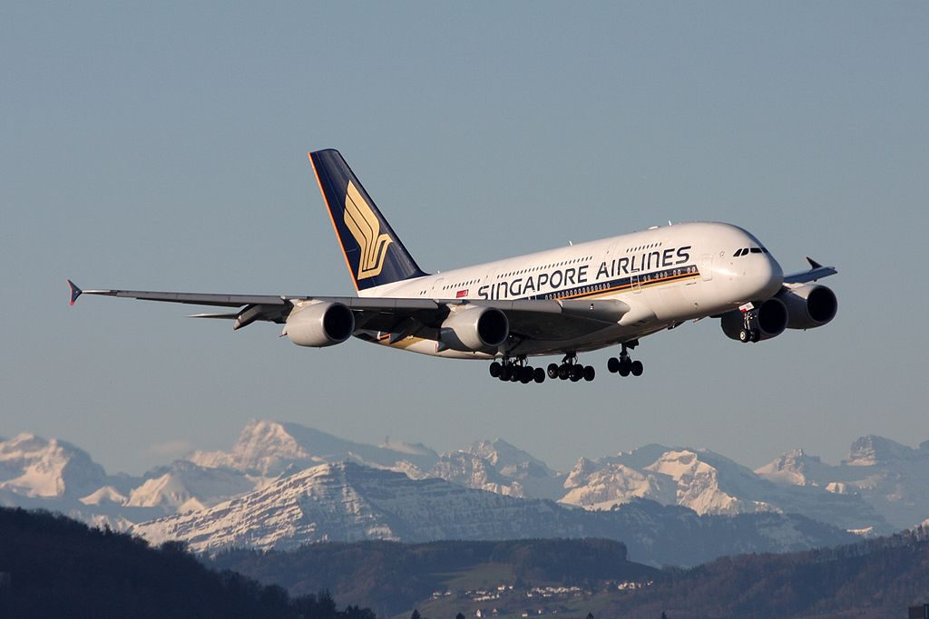9V SKL Airbus A380 800 of Singapore Airlines landing at Zurich International Airport