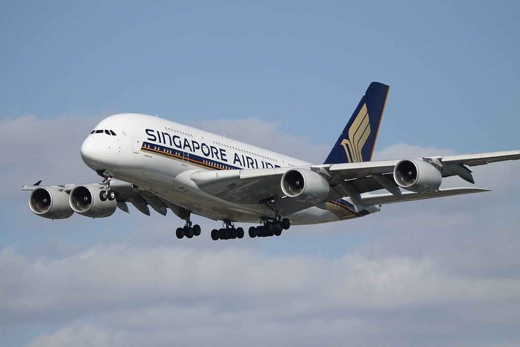 9V SKN Airbus A380 800 of Singapore Airlines landing at London Heathrow Airport