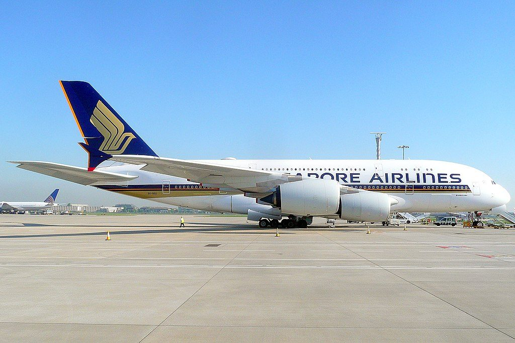 9V SKU Airbus A380 800 of Singapore Airlines at London Heathrow Airport