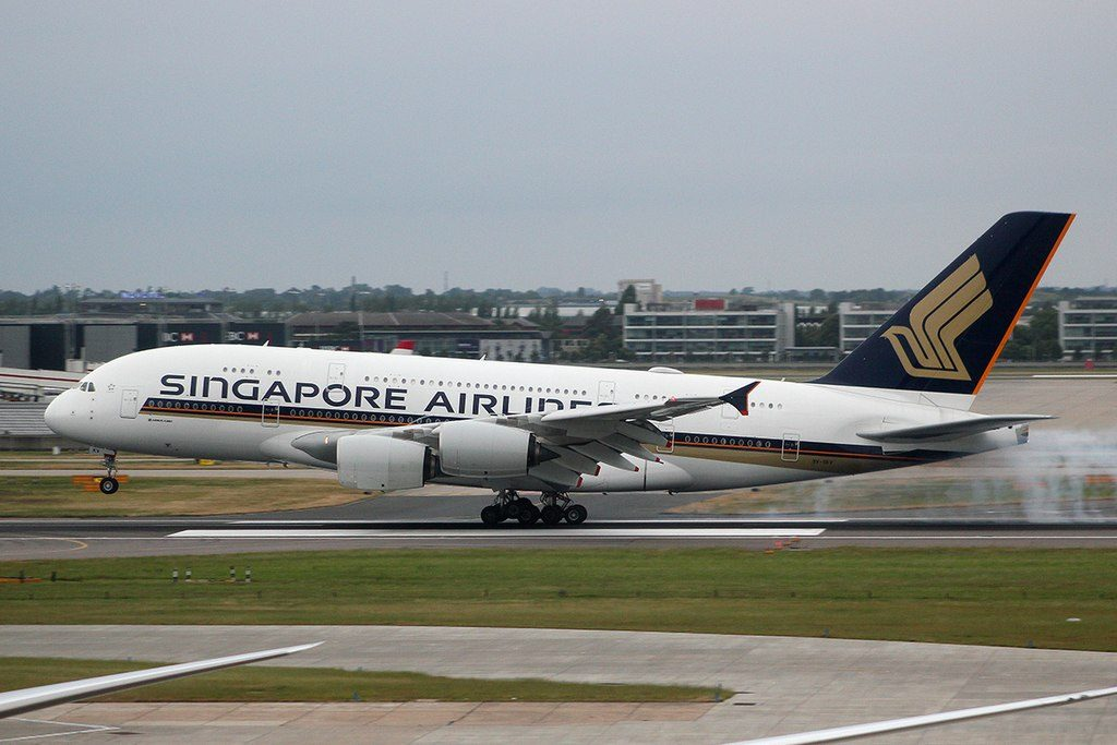 9V SKV Airbus A380 of Singapore Airlines at London Heathrow Airport