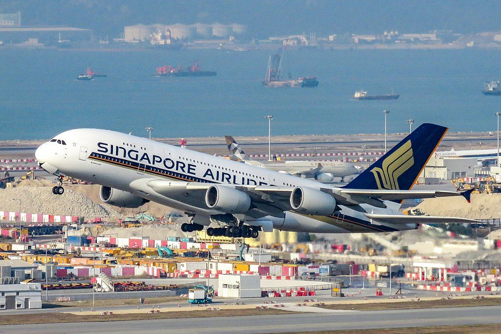 9V SKW Airbus A380 800 of Singapore Airlines takeoff at Hong Kong International Airport