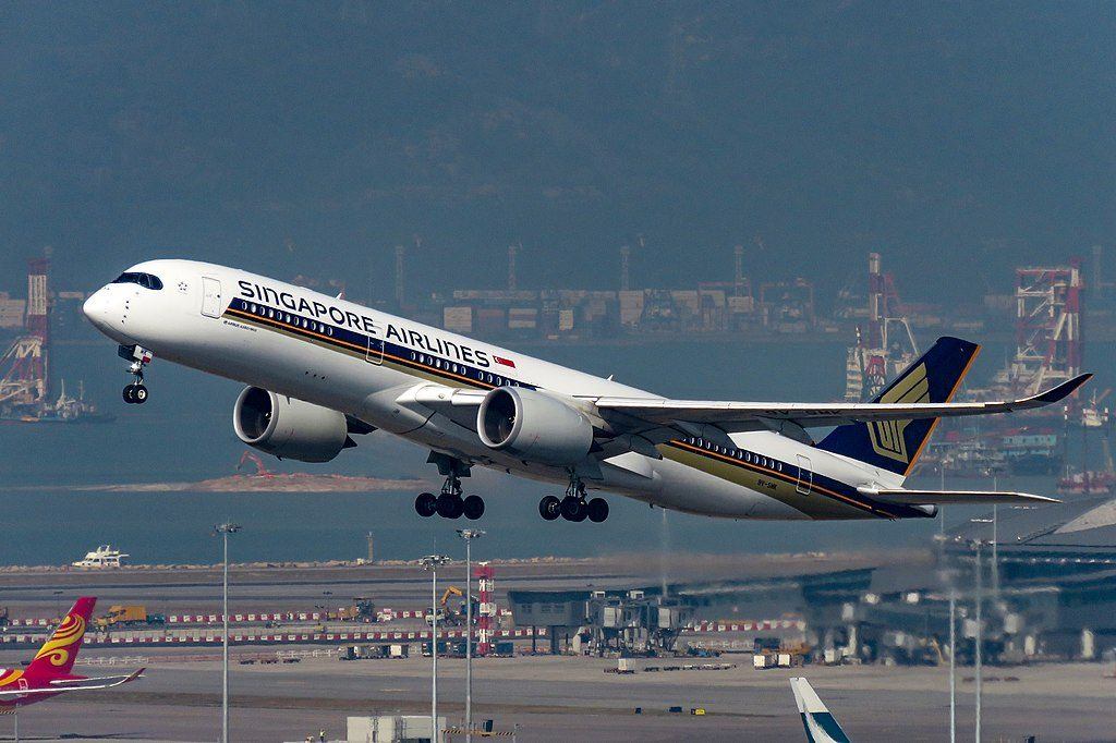 9V SMK Airbus A350 900 of Singapore Airlines at Hong Kong International Airport
