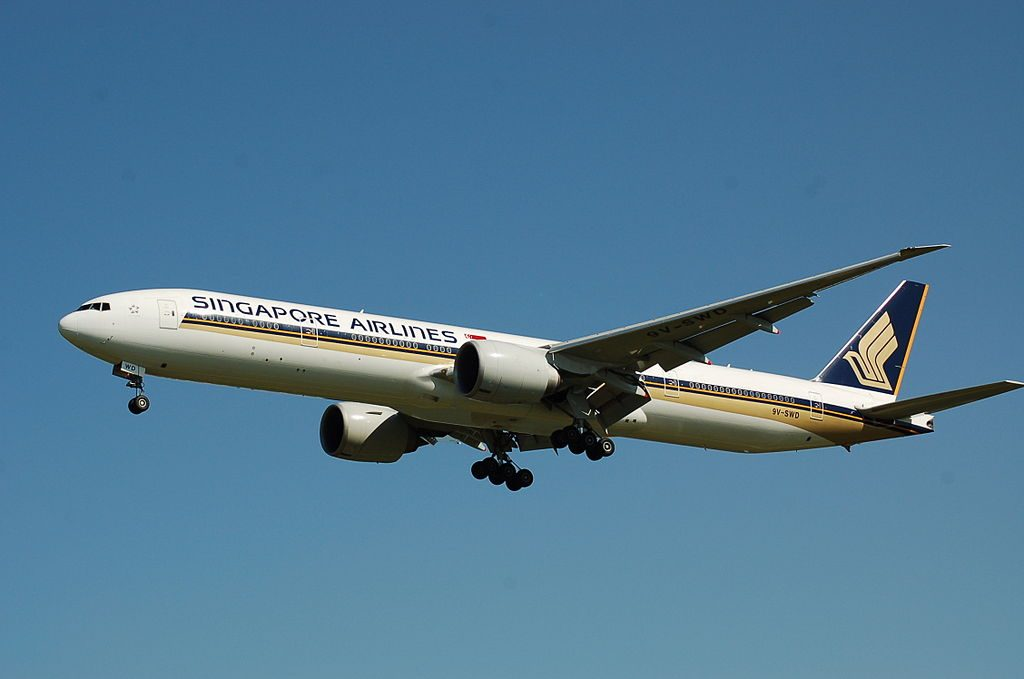 9V SWD Boeing 777 300ER of Singapore Airlines at Beijing Capital International Airport