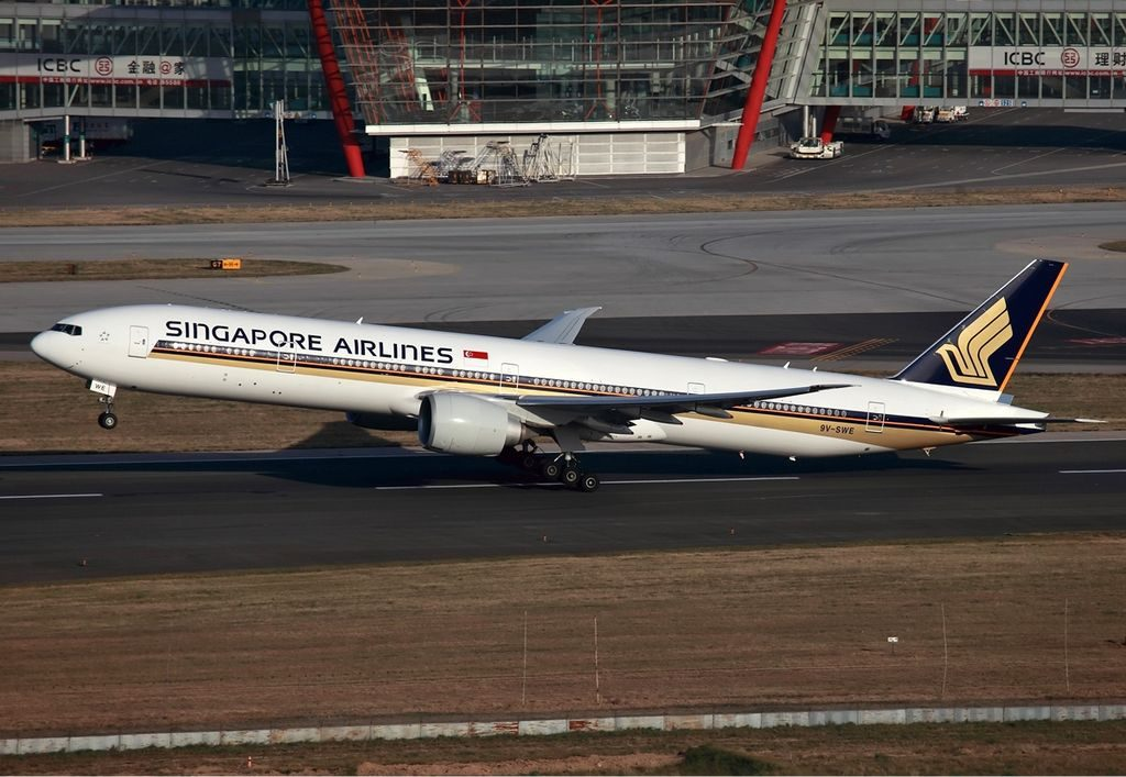 9V SWE Singapore Airlines Boeing 777 300ER taking off from Beijing Capital International Airport
