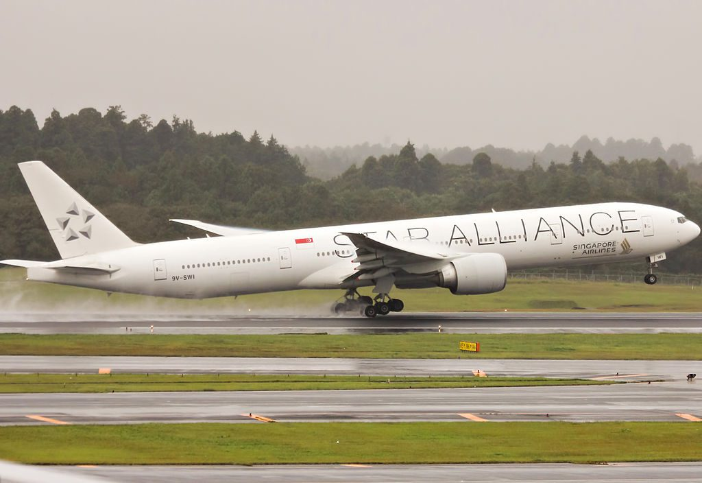 9V SWI Boeing 777 312ER of Singapore Airlines with Star Alliance Livery at Narita International Airport