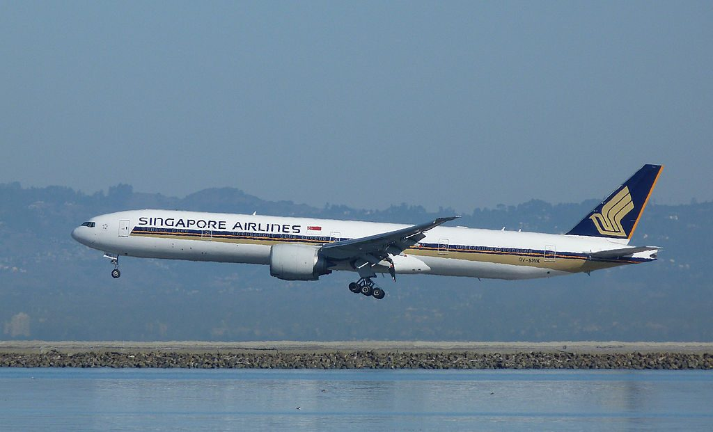 9V SWK Boeing 777 300ER of Singapore Airlines landing at San Francisco Airport