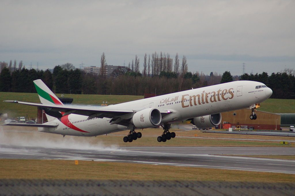A6 EBF Boeing 777 300ER of Emirates at Birmingham Airport