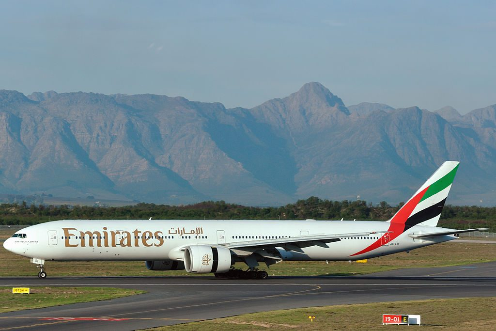 A6 EBI Boeing 777 300ER of Emirates at Cape Town International Airport