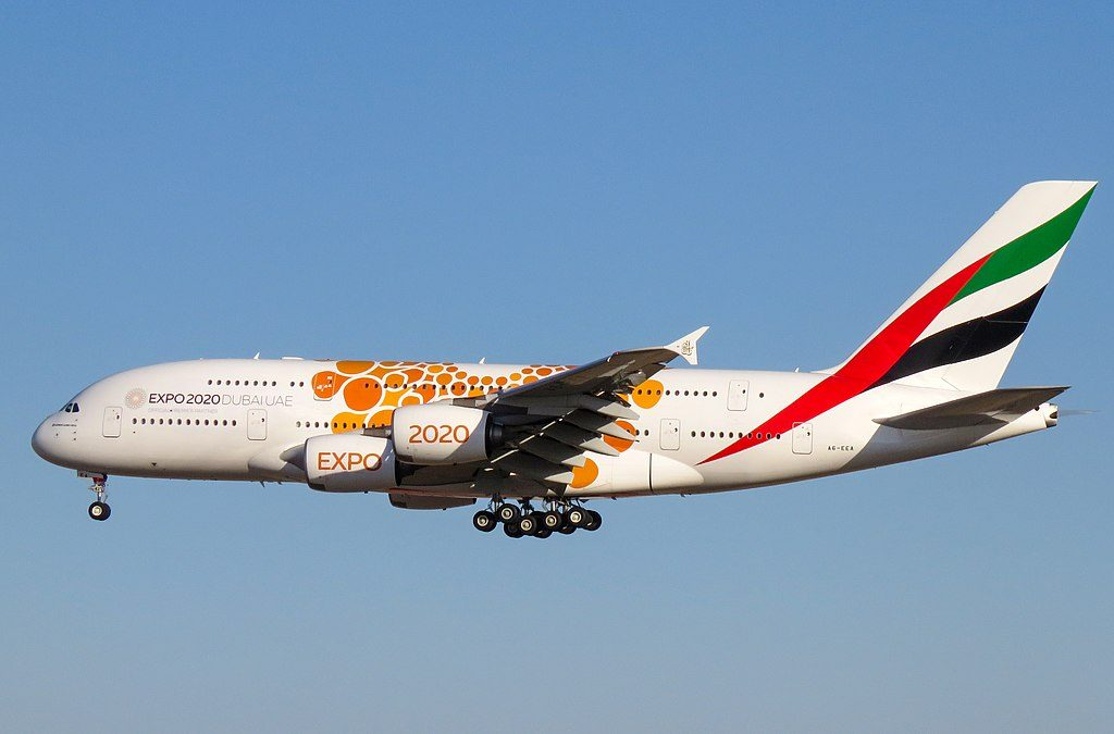 A6 EEA Airbus A380 800 of Emirates Expo 2020 Opportunity Orange cs at Beijing Capital International Airport