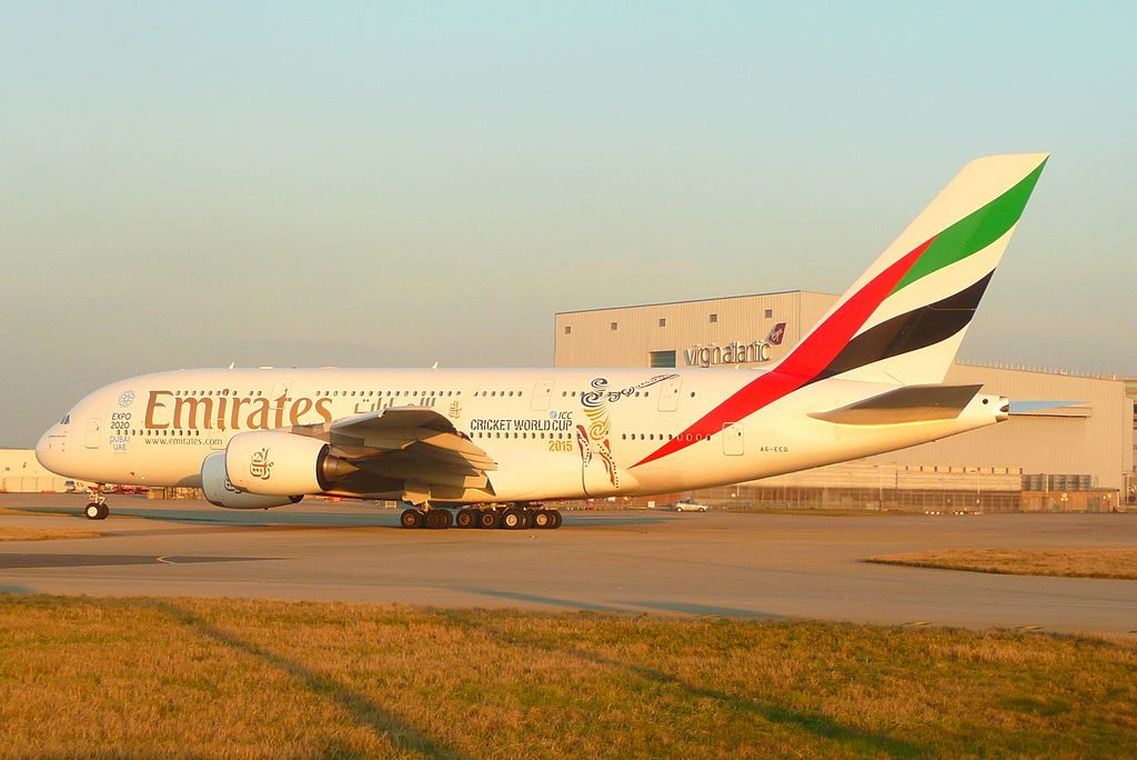 A6 EEQ Airbus A380 Emirates departure wearing ICC World Cup Cricket 2015 titles at London Heathrow Airport