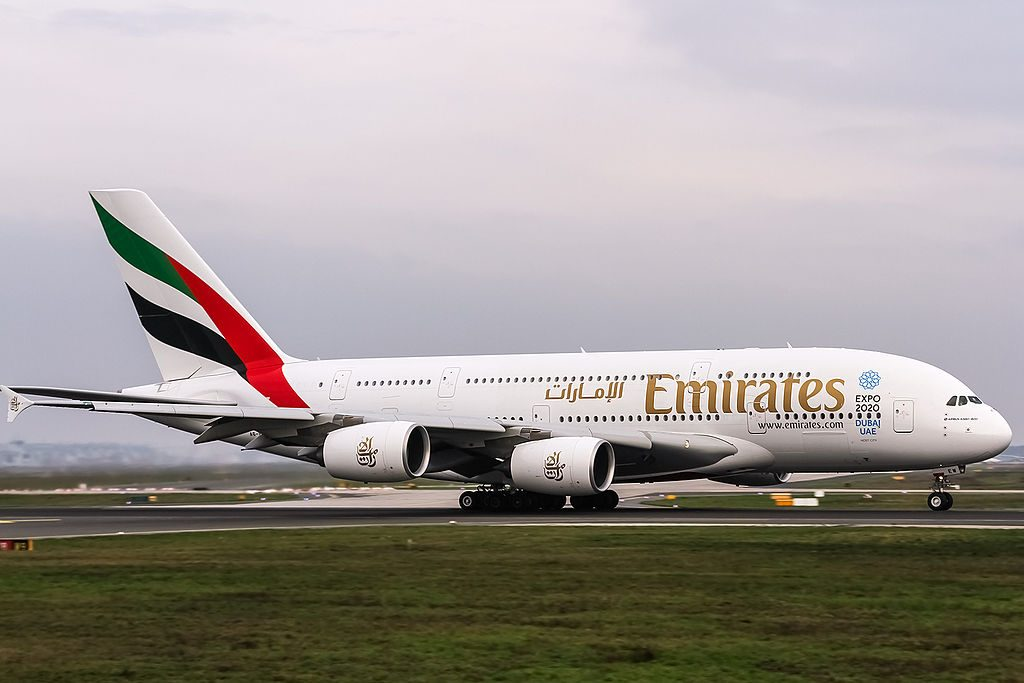 A6 EEW Emirates Airbus A380 861 Expo 2020 Sustainability Greencs at Frankfurt EDDF departing on Rwy18 to Dubai OMDB
