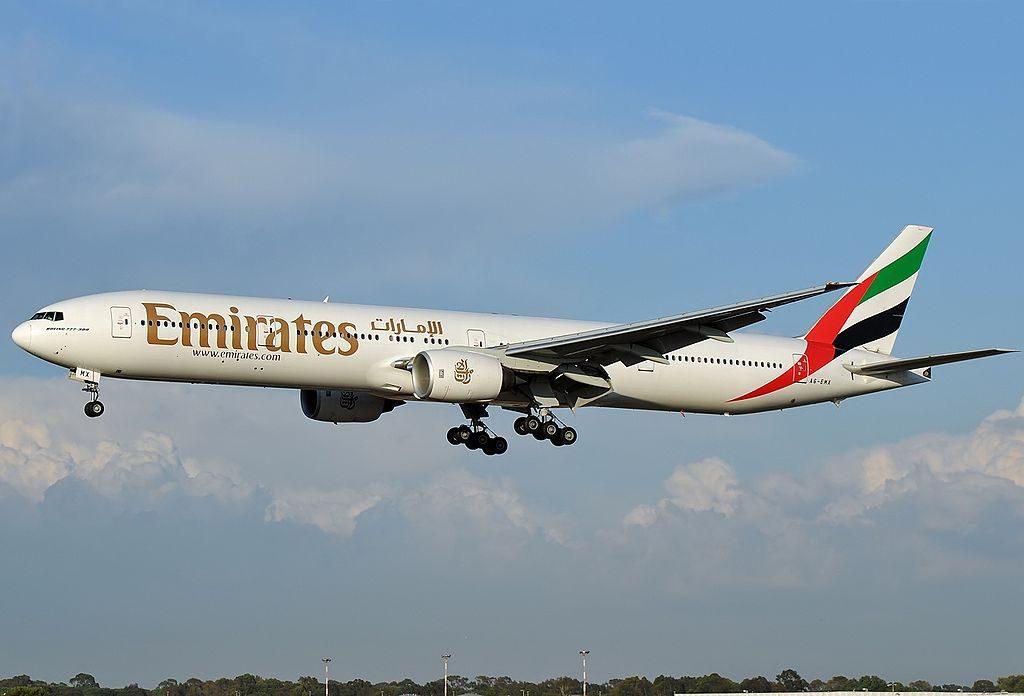 A6 EMX Boeing 777 300ER of Emirates at Fiumicino Airport at Roma Leonardo da Vinci Fiumicino