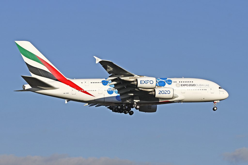 A6 EOC Emirates Airbus A380 861 Expo 2020 Mobility Blue cs at Perth Airport