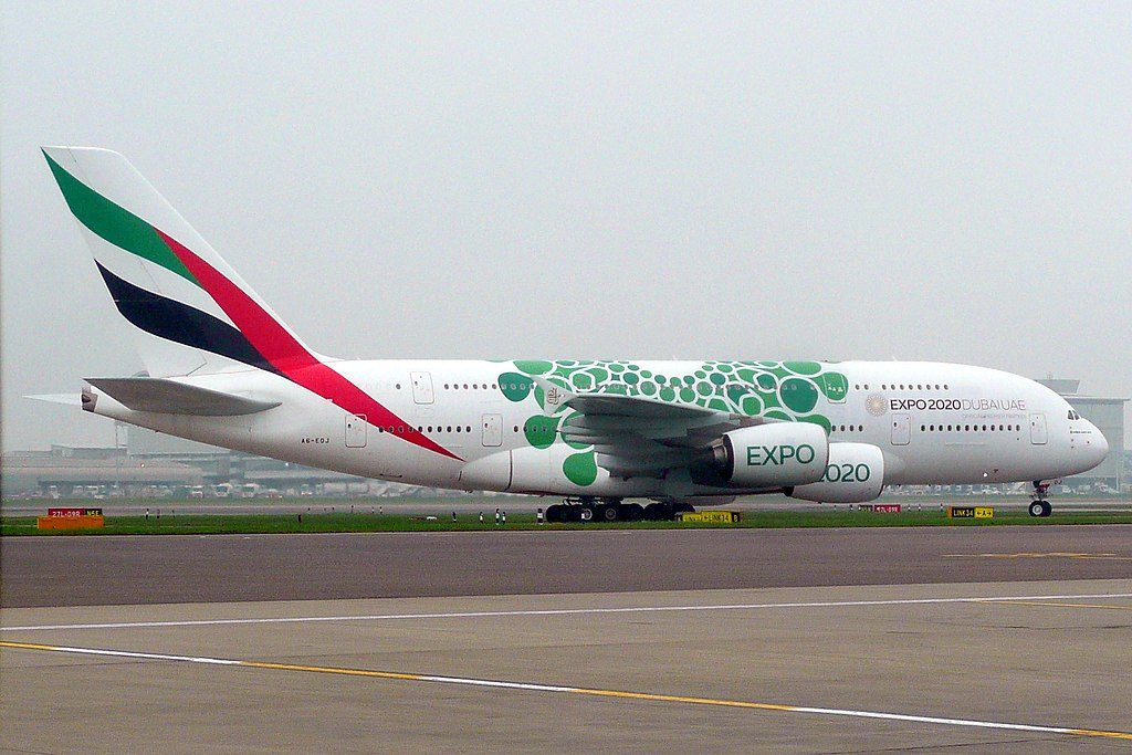 A6 EOJ Airbus A380 800 Expo 2020 Sustainability Green cs of Emirates at London Heathrow Airport